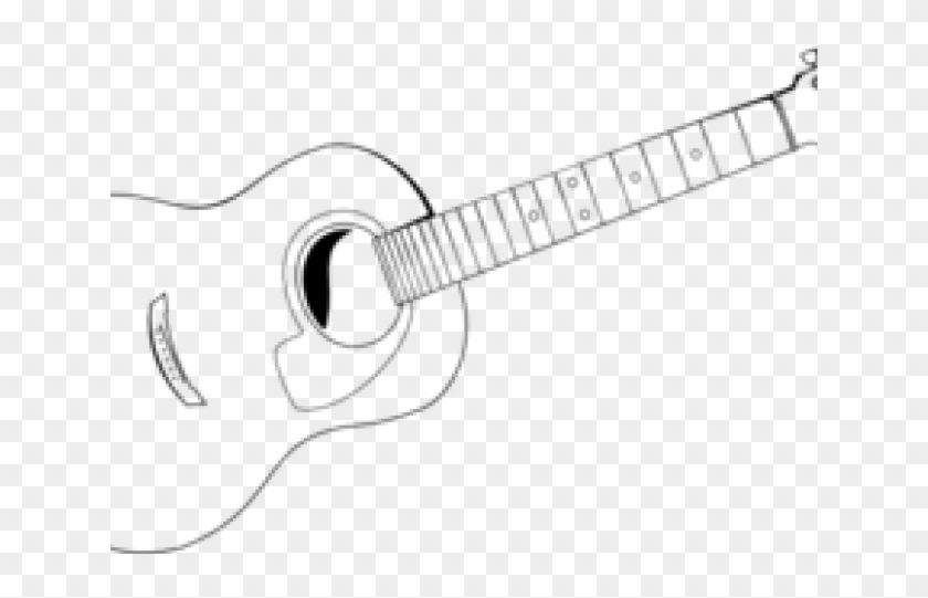 Guitar Clipart Vector - Acoustic Guitar Outline, HD Png Download ... picture black and white