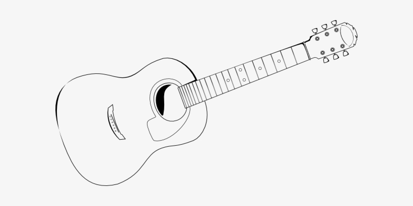 Guitar Drawings Stencil Clipart Freeuse Stock - Acoustic Guitar ... black and white