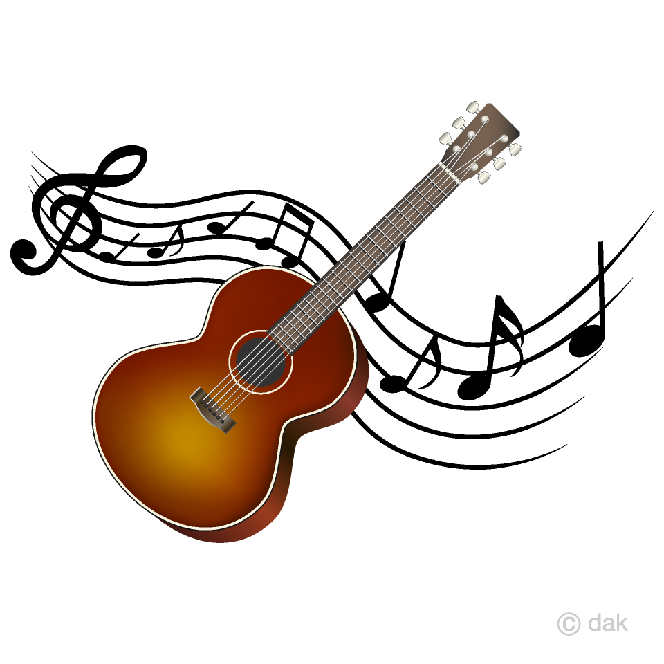 Acoustic music clipart image transparent download Guitar and Musical Note Waving Clipart Free Picture Illustoon image transparent download