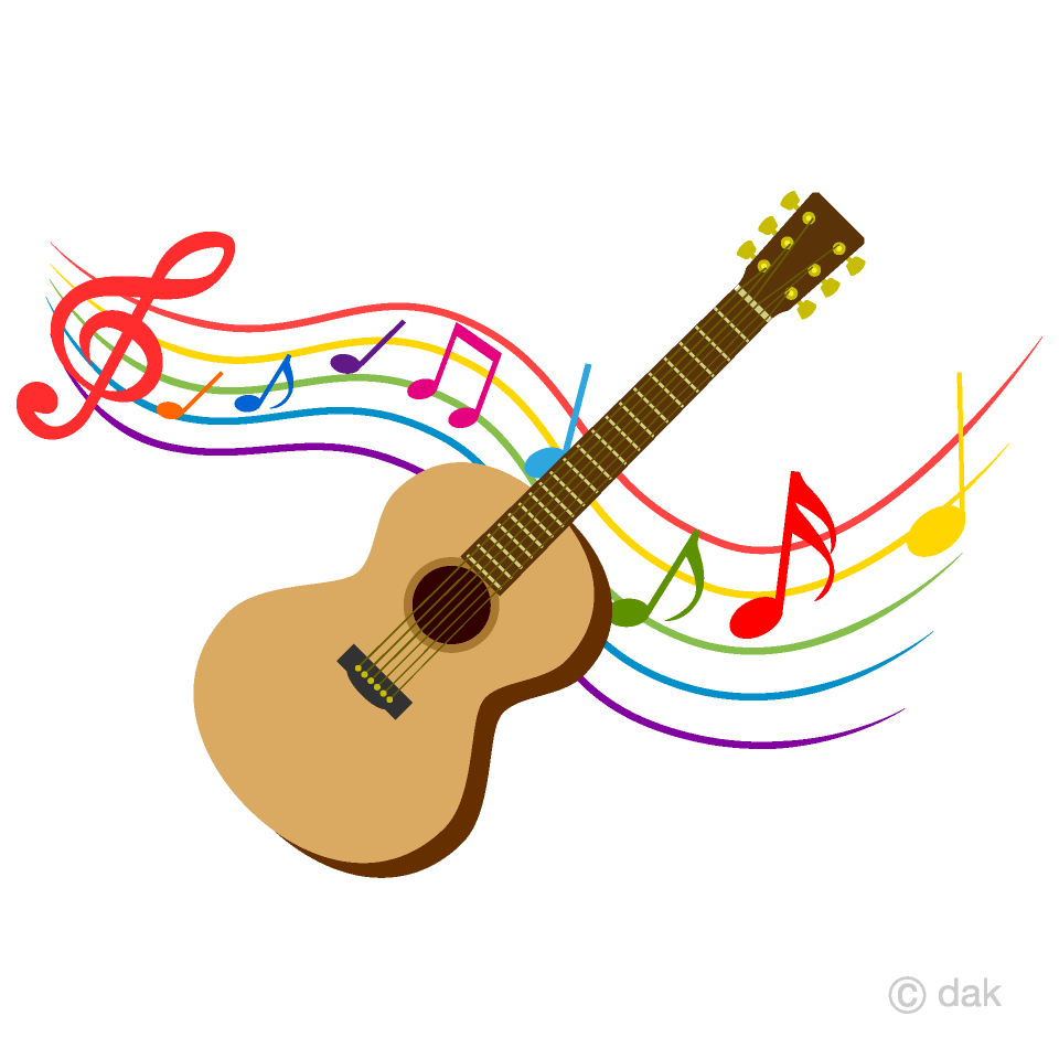 Guitar and colorful note. Free musicians cliparts
