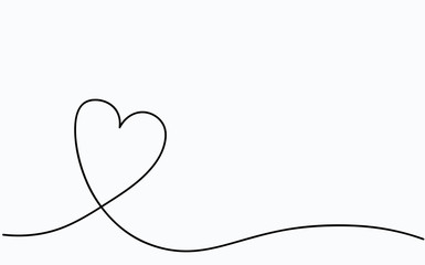 Love heart vector, continuous one line drawing. Vector illustration ... banner royalty free stock