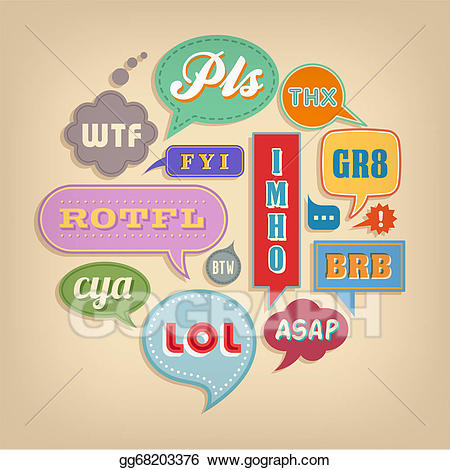 Acronyms clipart banner freeuse stock Vector Art - Comic bubbles with popular acronyms & abbreviations ... banner freeuse stock