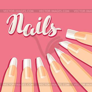 Acrylic nail shapes set - vector clipart jpg
