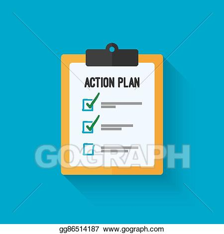 Action clipboard clipart svg black and white stock Vector Illustration - Action plan clipboard icon design over a blue ... svg black and white stock