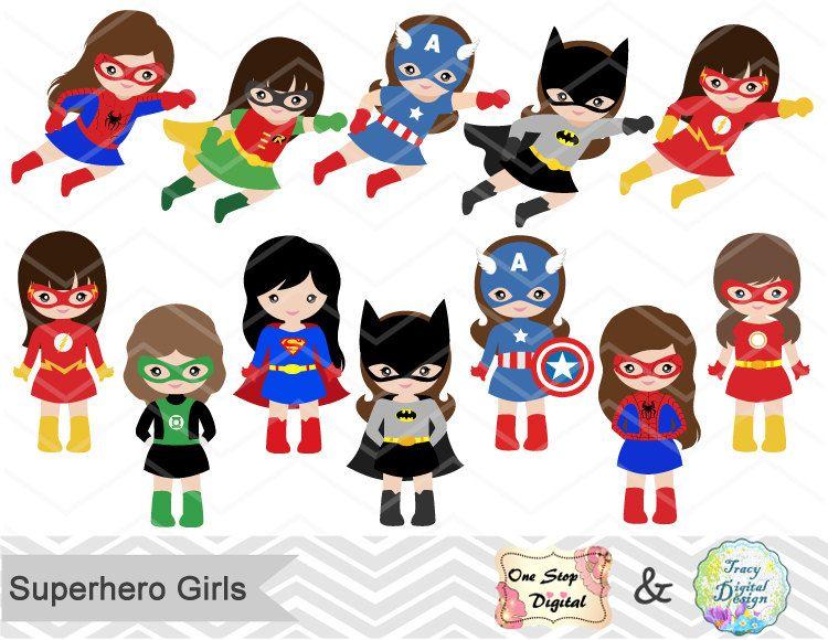 Action hero clipart clip art black and white download 24 Little Girl Superheros Digital Clip Art, Girls Superhero Clipart ... clip art black and white download