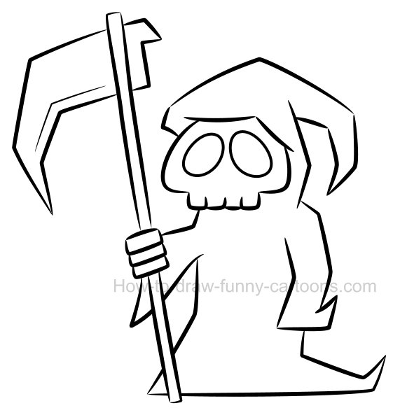 How to draw a grim reaper clipart jpg black and white library