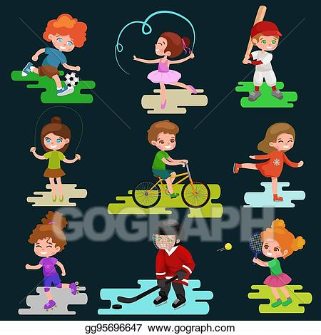Active games clipart picture free stock EPS Vector - Kids sport, isolated boy and girl playing active games ... picture free stock