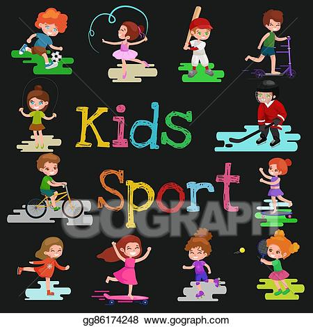 Active games clipart jpg transparent download EPS Vector - Kids sport, isolated boy and girl playing active games ... jpg transparent download