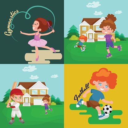 Active games clipart clipart freeuse Kids Sport, Isolated Boy and Girl Playing Active Games Vector ... clipart freeuse