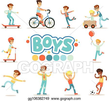 Active games clipart clip art free Vector Stock - Happy boys and their expected classic behavior with ... clip art free