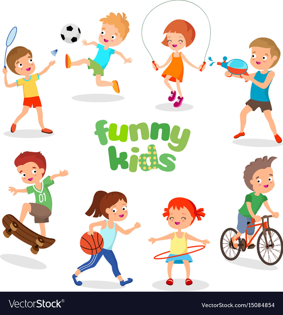 Uniformed happy kids playing sports active clipart freeuse stock