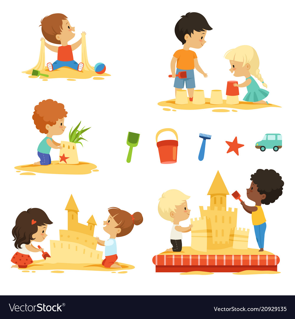 Active kids playing in the sandbox happy banner free stock