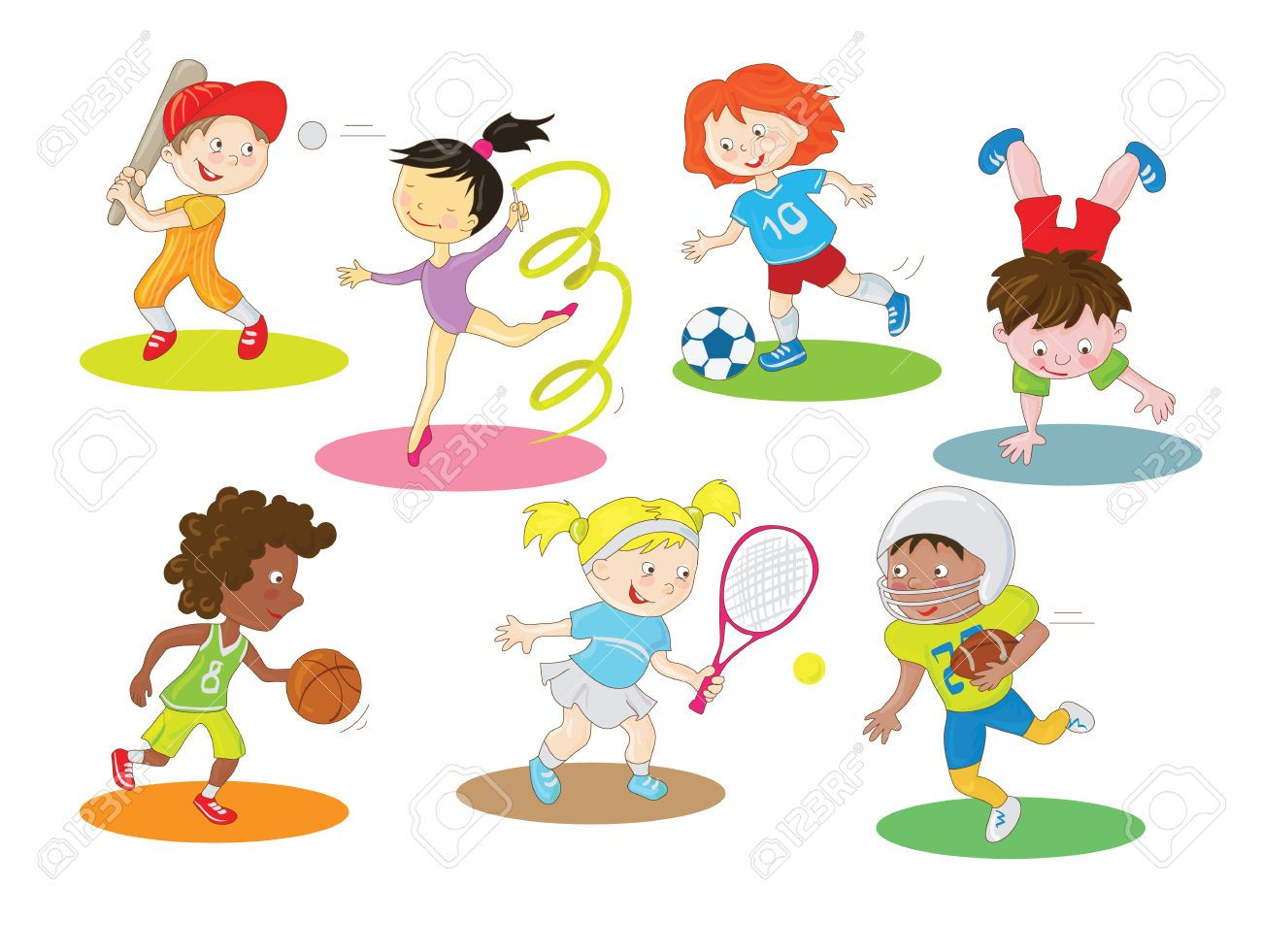Stock Vector | English in 2019 | Sports clips, Kids sports, Sports jpg black and white library