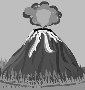 Active volcanoes clipart graphic royalty free stock Clipart Image of Smoke Billowing Out of an Active Volcano In Black ... graphic royalty free stock