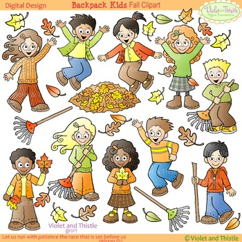 Kids activities clipart vector black and white Fall Clipart: Kids Fall Activities: Raking, Jumping in Leaves, Collecting  Leaves vector black and white