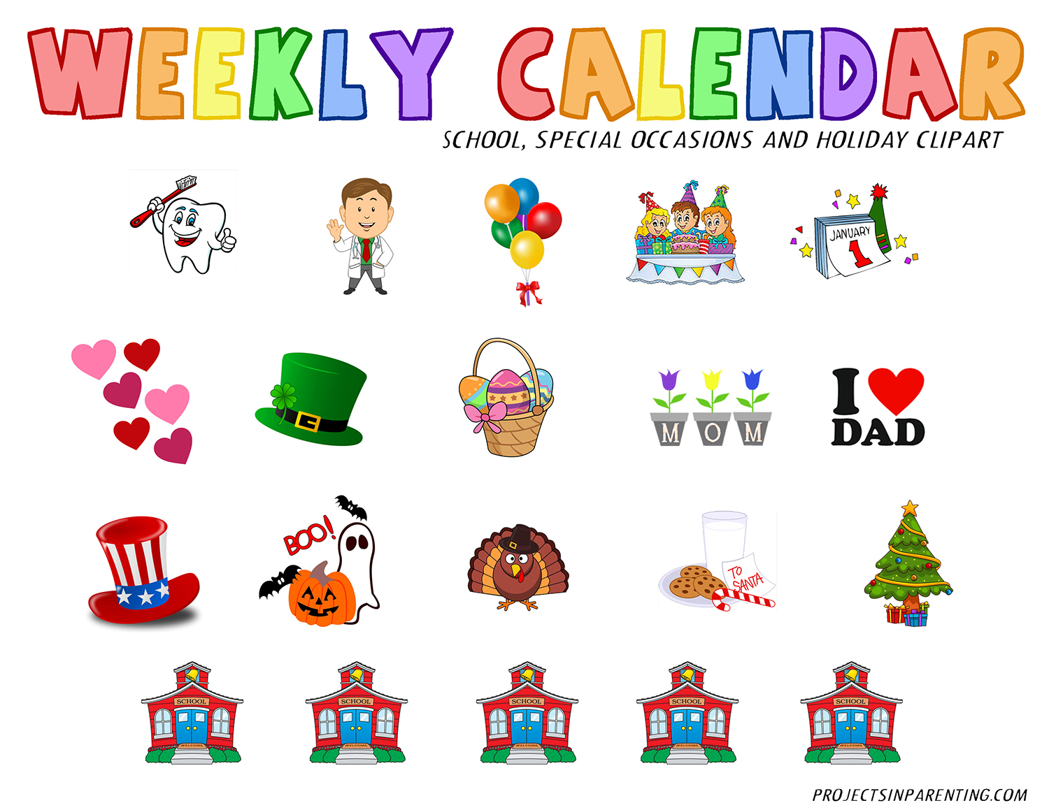 Activities tonight clipart graphic transparent download Toddler Weekly Calendar | Projects In Parenting graphic transparent download