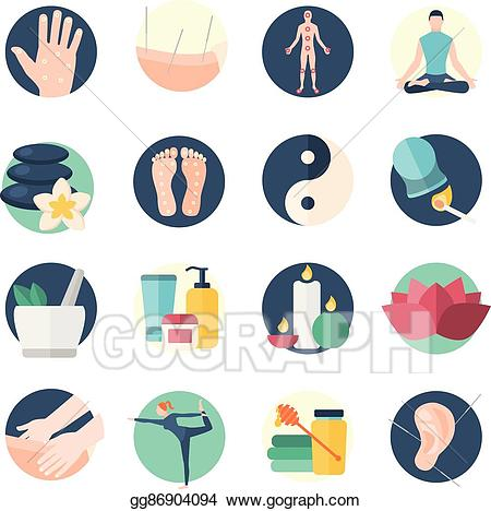 Acupuncture clipart svg library stock Vector Art - Acupuncture flat icon set. EPS clipart gg86904094 - GoGraph svg library stock