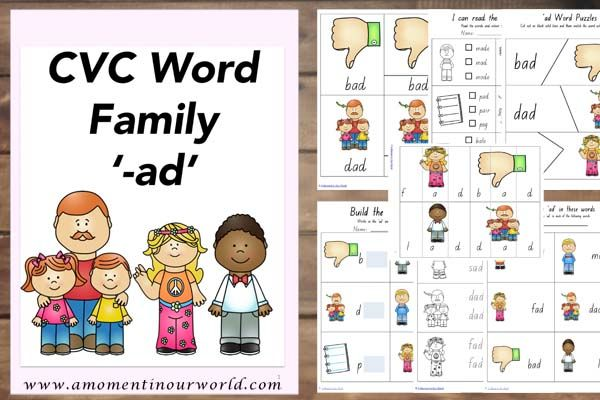 Ad family clipart svg royalty free library FREE} Printable CVC -ad Word Family | Worksheets | Word families ... svg royalty free library