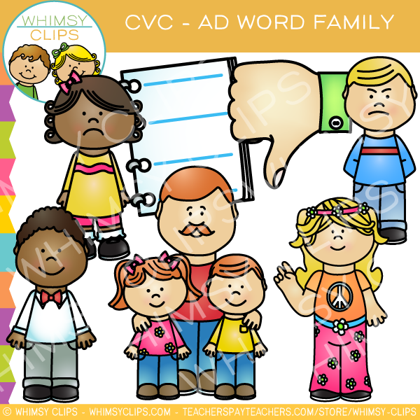 Ad family clipart clipart black and white download Medial a cvc clip art , Images & Illustrations | Whimsy Clips ® clipart black and white download