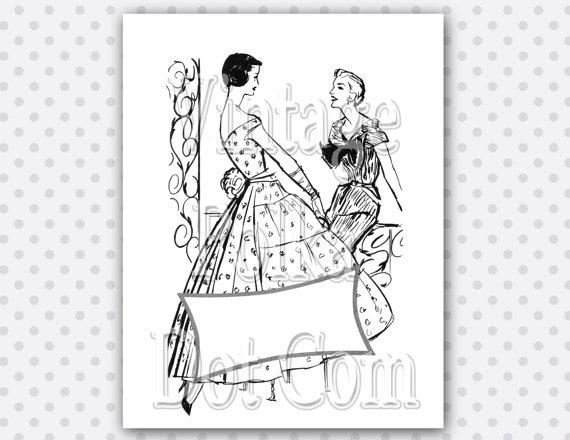 Ad girl clipart svg black and white Retro Advertisement Ladies Fashion Banner Ad Dresses Clip Art Girl ... svg black and white