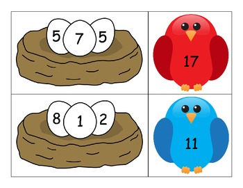 Adding 3 Numbers - Bird Theme Complements of 10 Activity clipart library library