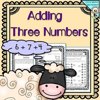 Adding Three Numbers (Add 3 Numbers) Worksheets / Printables - Make Ten  First clip art stock