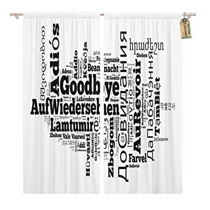 Amazon.com: Golee Window Curtain Adios Word Goodbye in Different ... svg freeuse