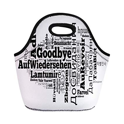Amazon.com: Semtomn Lunch Tote Bag Adios Word Goodbye in Different ... clip library