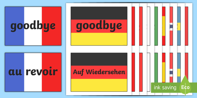 FREE! - Goodbye Languages On Flags - Goodbye sign, flag, flags ... clip art freeuse library