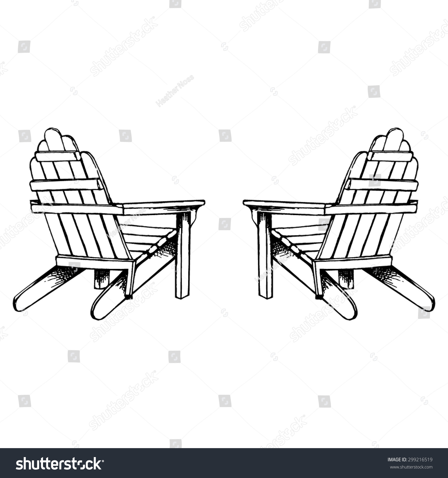 Adirondack chairs clipart graphic freeuse stock Adirondack Chairs Hand Sketch Stock Vector 299216519 Log Adirondack ... graphic freeuse stock