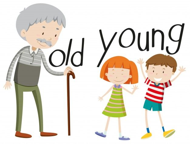 Adjectives clipart image stock Opposite adjectives old and young | Drawings | English language ... image stock