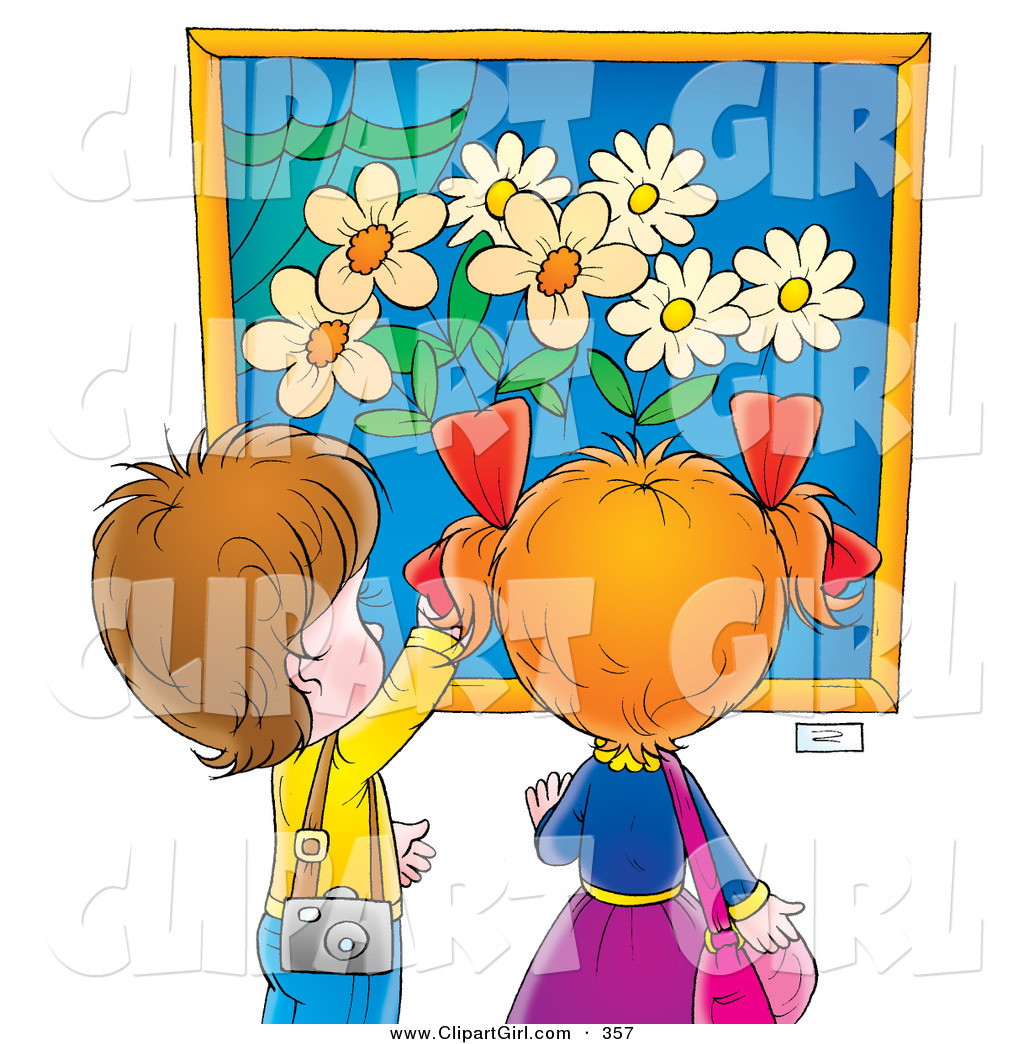 Admiring clipart banner black and white stock Clip Art of a Curious Little Boy and Girl Admiring a Painting of ... banner black and white stock