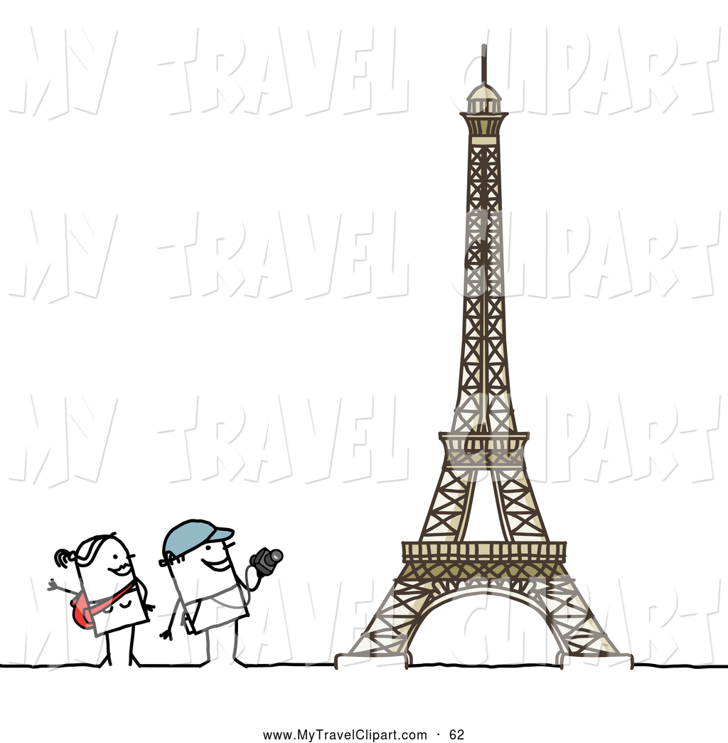 Admiring clipart picture freeuse stock Clipart of a Traveling Stick Tourist Couple Admiring the Eiffel ... picture freeuse stock