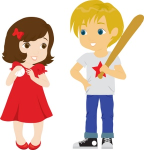 Admiring cliparts clipart royalty free library Sandlot Clipart Image - Boy Baseball Player with Admiring Girl clipart royalty free library