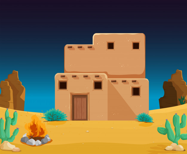 Adobe casa clipart vector royalty free stock An adobe house at desert Vector   Premium Download vector royalty free stock