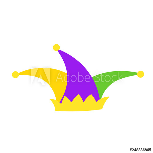 Adobe clipart gallery clip art freeuse download Mardi Gras jester hat flat icon. Clipart image isolated on white ... clip art freeuse download