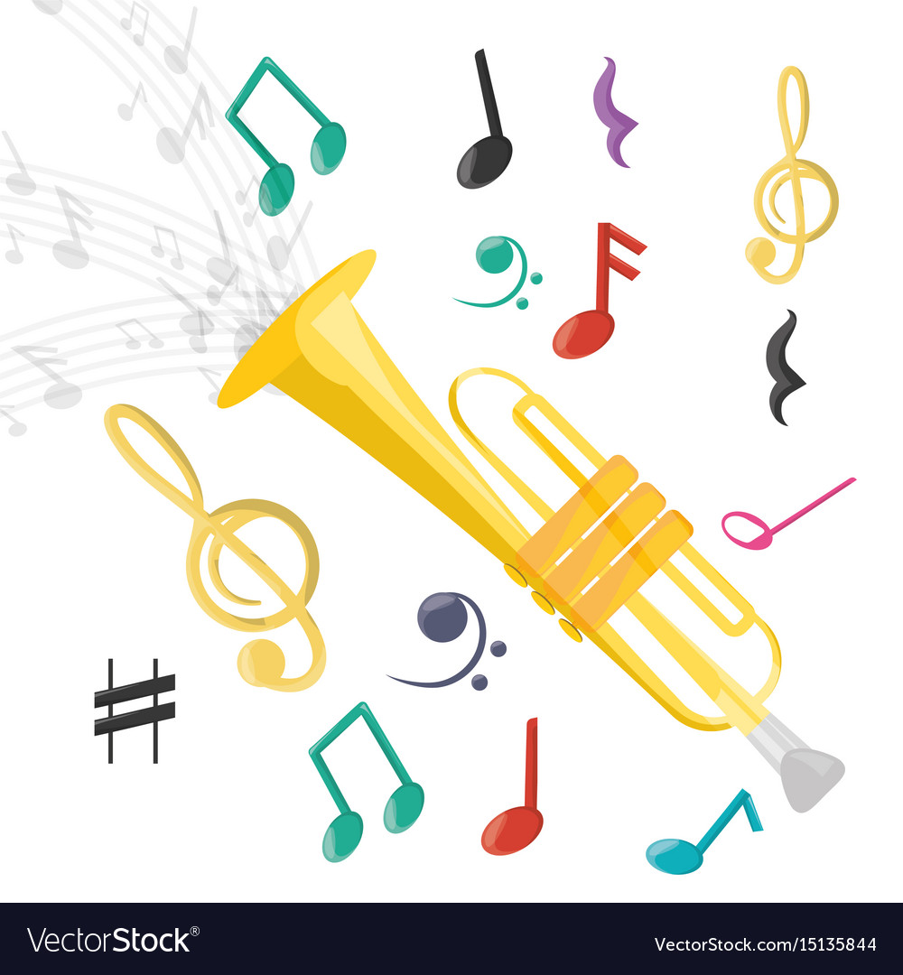 Adobe clipart images music notes jpg free Trumpet instrument with musical notes jpg free