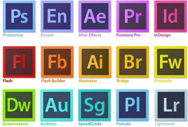 Adobe creative cloud icon clipart freeuse stock Adobe Creative Suite Family Software Logo Vector Free vector in ... freeuse stock