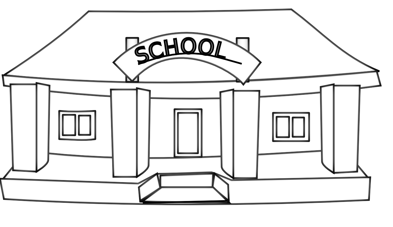 Black and white clipart school