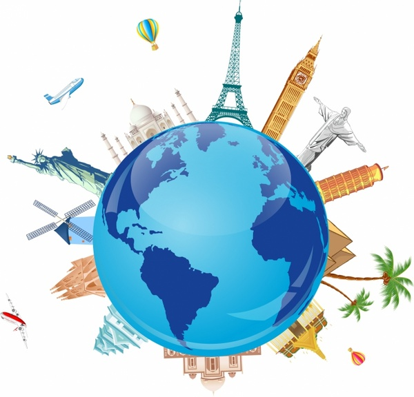 Adobe illustrator clipart world jpg black and white World Travel Clipart & Clip Art Images #32737 - clipartimage.com jpg black and white