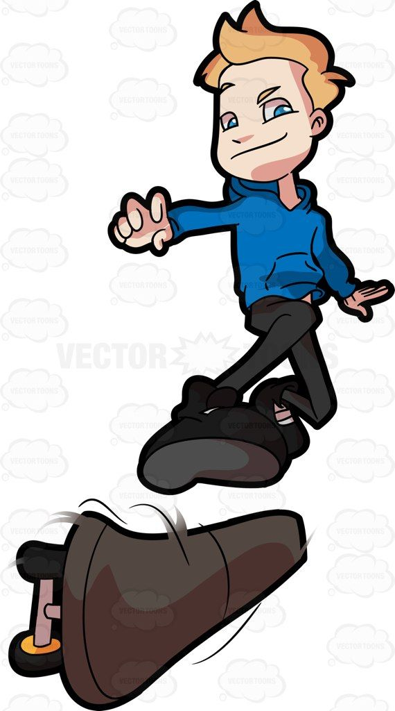 An Adolescent Boy Does A Skateboard Exhibition | Children book ideas ... vector black and white