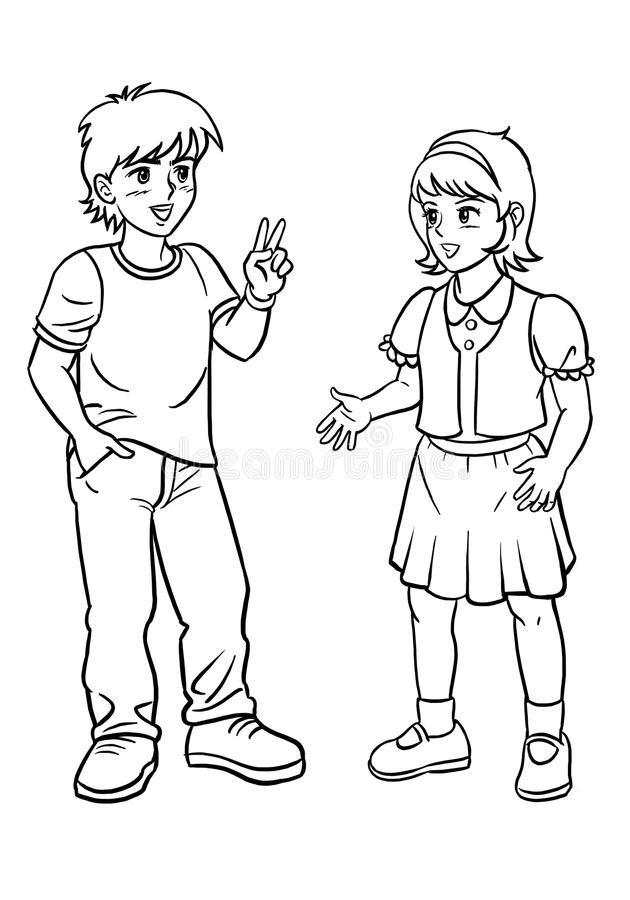 Boy And Girl Talking Clipart Black And White vector library library