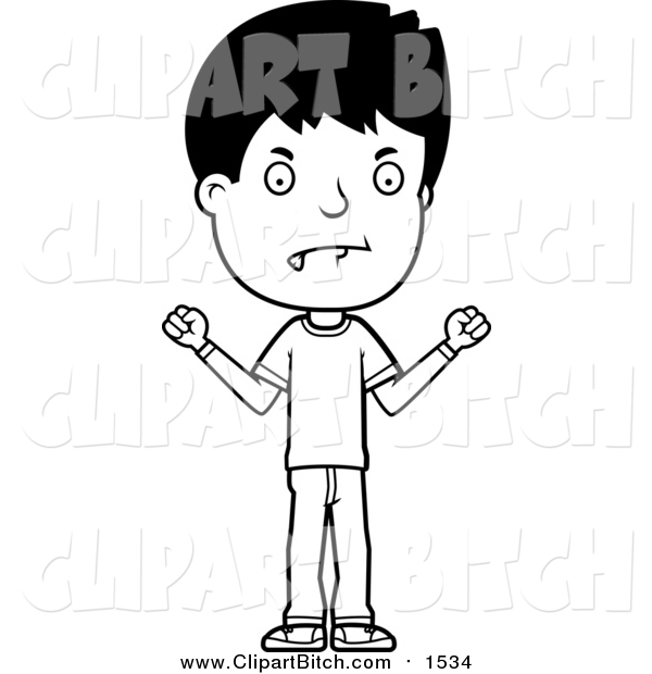 Clip Vector Cartoon Art of a Black and White Angry Adolescent ... clip