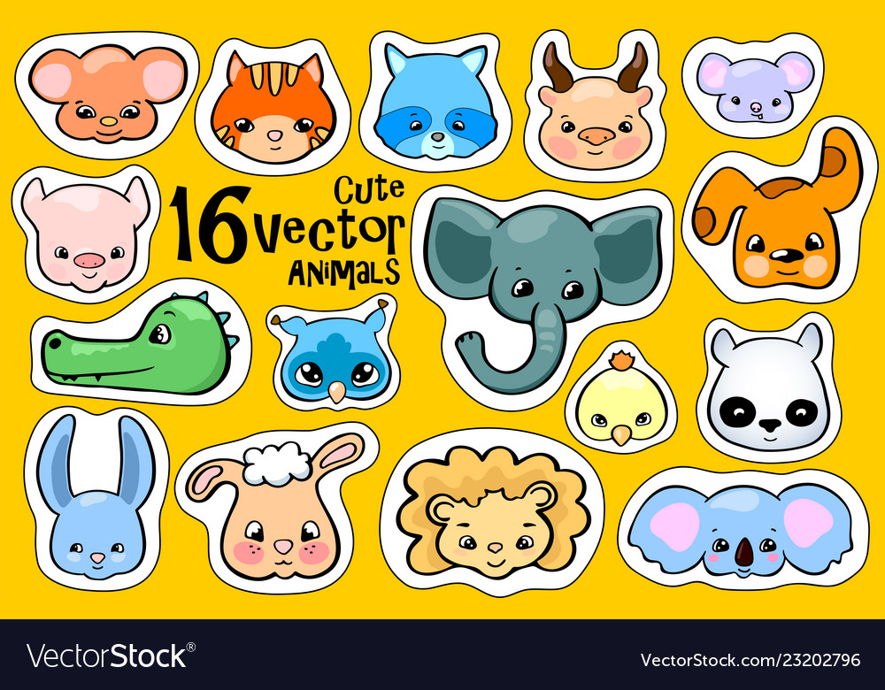 Face sticker clipart banner transparent library Colorful animal face stickers cute animal clipart Vector Image banner transparent library