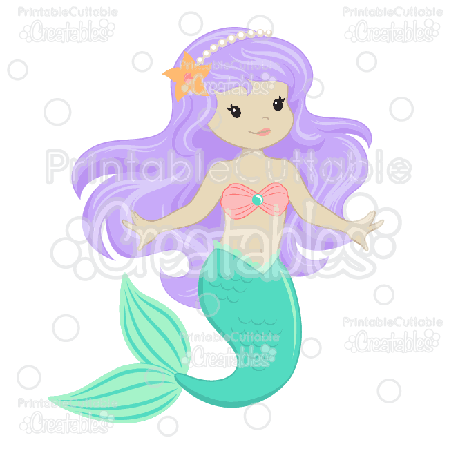Adorable mermaid clipart picture freeuse stock Cute Mermaid SVG Cut Files & Clipart picture freeuse stock