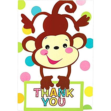 amscan Adorable Fisher Price Baby Shower Party Playful Monkey Folded Thank  You Card, Paper, 3\