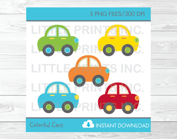 Adorable vehicle clipart clip art black and white download Cute Car Clipart / Colorful Car Clip Art / Car Baby Shower / Car ... clip art black and white download