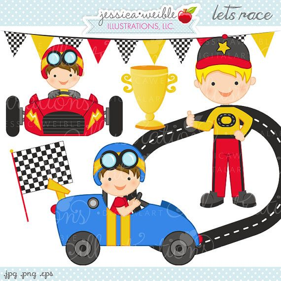 Adorable vehicle clipart graphic freeuse Lets Race Cute Digital Clipart - Commercial Use OK - Race Car Driver ... graphic freeuse