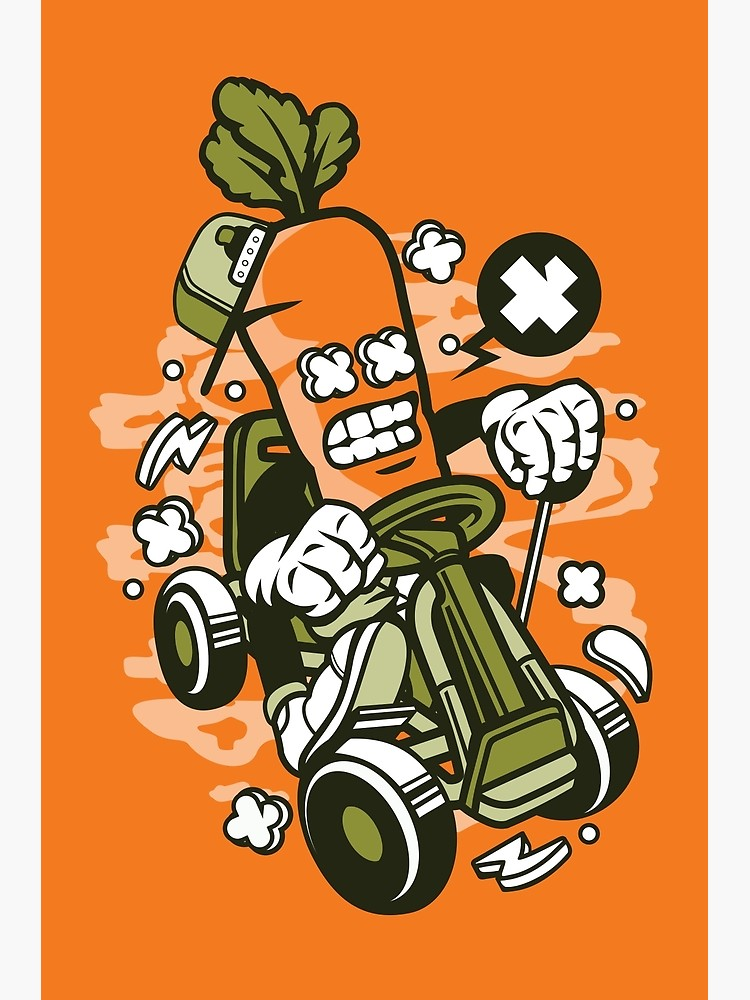 Adrenaline sports logo clipart jpg free stock Carrot Gokart Rider - Cartoon Character - Fun illustration for people who  love the adrenaline of extreme sports ! | Photographic Print jpg free stock