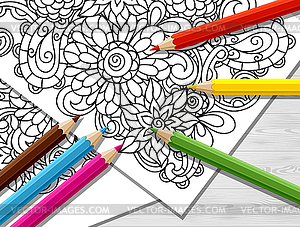 Adult coloring clipart svg freeuse download Adult coloring concept with pencils, printed - vector clipart svg freeuse download